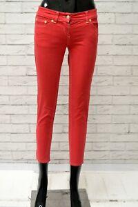 Pantalone-DANIELE-ALESSANDRINI-Donna-Taglia-Size-38-Jeans-Pants-Woman-Slim-Rosso