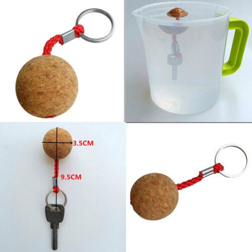 Lightweight 35mm Floating Cork Key Ring Water Buoyant Wooden Ball Key Chain