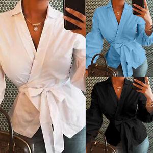 UK-Women-V-neck-Long-Sleeve-Club-Blouse-Tops-Ladies-Bandage-Wrap-Over-Shirt-8-26