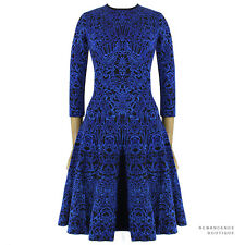 Alexander McQueen Electric Blue Black Jacquard Knit Flared Skater Dress L UK12
