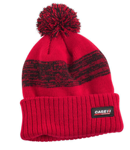 Case IH Red//Black Pom Cuffed Knit Beanie