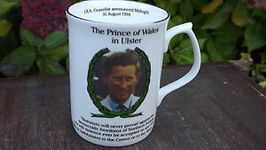 1994 Prince of Wales Royal Visit to Ulster China mug Only 75 made IRA Ceasefire - Belfast, United Kingdom - 1994 Prince of Wales Royal Visit to Ulster China mug Only 75 made IRA Ceasefire - Belfast, United Kingdom