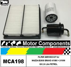 FILTER-SERVICE-KIT-Air-Oil-Fuel-for-MAZDA-B2600-BRAVO-G6-2-6-Litre-PETROL-90-99
