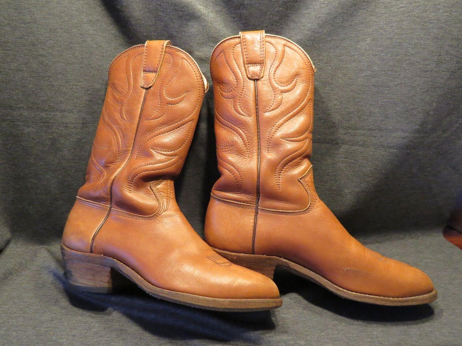 Stewart Cowboy Boots Co Hand Made Vintage 1977 Western Boots Sz 8 1 2 D Carmel