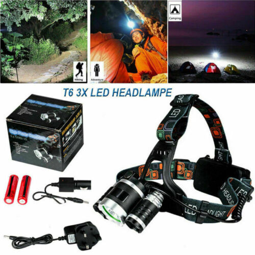 12000LM T6 3x CREE LED Headlamp Headlight Torch Lamp Rechargeable Flashlight