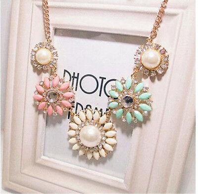 New Fashion Women Charm Color Resin Rhinestone Flowers Shape Collar Bib Necklace