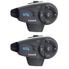2x BT Moto Interfono Bluetooth Casco Interfonie Telecomando Wireless Intercom FM