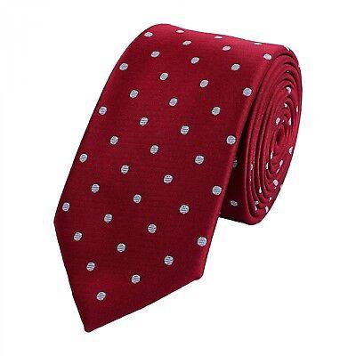 Krawatte schmal von Fabio Farini gepunktet in rot grau