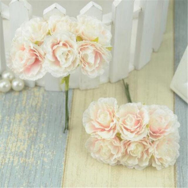 6pcs Mini Silk Artificial Rose Flower Bouquet Wedding Decoration Paper Flower