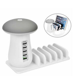 USB-Handy-Ladestation-5-Ports-Multi-Dockingstation-fuer-iPhone-Samsung-Android