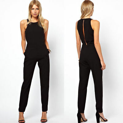 Fashion Womens Casual Jumpsuit Romper Overall Black Pants Evening Party Dress