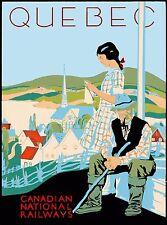 Quebec Canadian National Railways Vintage Canada Travel Advertisement Poster