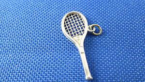 Vintage sports charm Vintage Sterling Tennis Racket charm with Faux Pearl Tennis Ball Sterling Silver charm Vintge Tennis charm