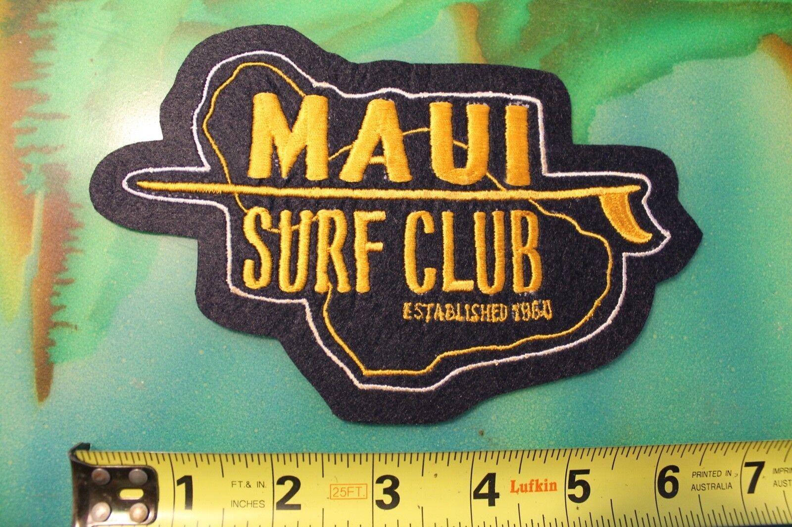 MAUI Surf Club Surfboards Island Longboard Logo Vintage 60's Felt Surfing PATCH
