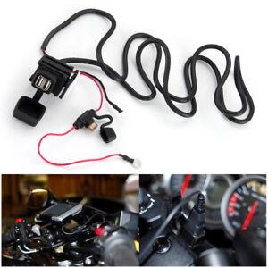 12V-2-1A-Motorrad-USB-Power-Steckdose-Ladegeraet-Wasserdicht-fuer-Handy-Auto