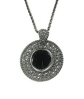 Black Antique Silver Round Crystal Diamante Pendant Necklace Chain Women Ladies