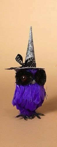 "2279480 Set3 Purple 7.8"" Halloween Feathered Owl wWitches Hat Bird"