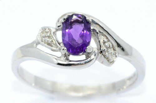 0.50 Ct Amethyst /& Diamond Oval Ring .925 Sterling Silver