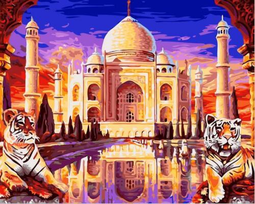 Taj Mahal Tigers Paint By Number DIY Digital Kit Arylic Oil Painting On Canvas