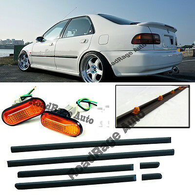 92-95 Civic JDM Thin Side Door Molding Moulding Trim Planel + Side Marker (4Dr)