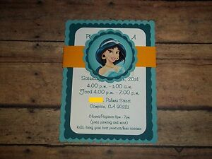 Jasmine Birthday Invitations Disney Princess Invitations Aladdin