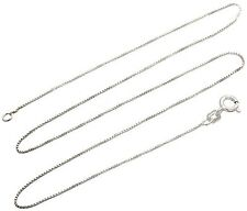 Sterling Silver Necklace BOX Chain Solid 925 Italy 1mm New Wholesale Prices Deal