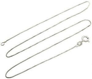 Details About Sterling Silver Necklace Box Chain Solid 925 Italy 1mm New Whole Prices Deal