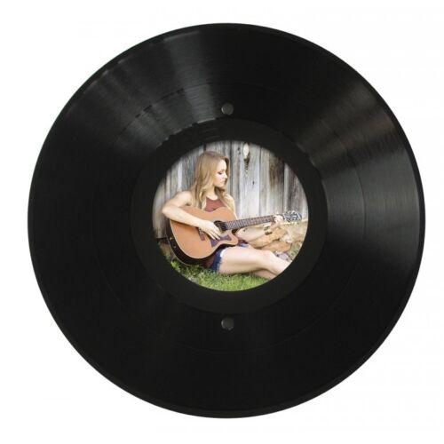 Runder LP Bilder-Rahmen aus echter Vinyl-Schallplatte mit rundem Bildausschnitt