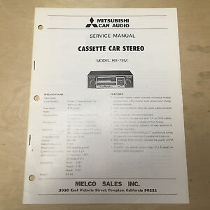 Details about Mitsubishi Service Manual for the RX-7EM Cassette Car Stereo  Radio ~ Repair