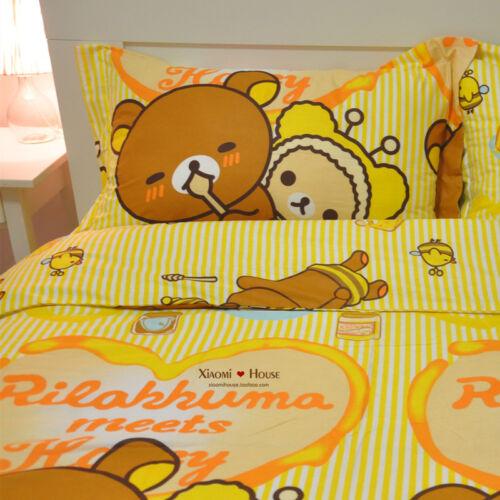 Bedding San-X Rilakkuma Bear Pattern 100/% Cotton Sheet 4Pc  Colors Sizes Comfort
