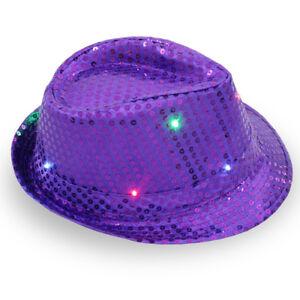 Men Hats Women LED Light Up Blinking Flashing Sequin Jazz Cap Hat Party Xmas KN