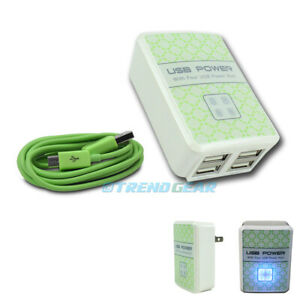 4 USB PORTS WALL ADAPTER+3FT CABLE POWER CHARGER GREEN LG G2 OPTIMUS PRO MOTO G
