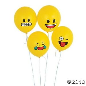 Image Is Loading 24 YELLOW Emoji 11 034 Latex Balloons Emoticon