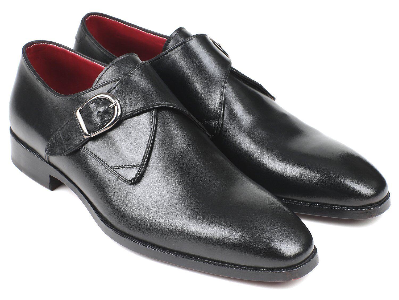 Paul Parkman nero Leather Single Monkstraps (ID 011BLK54)