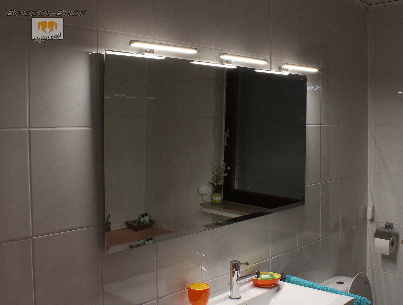 BADSPIEGEL MIT BELEUCHTUNG LED 3 LAMPEN STEILFACETTE 170x70CM JOANA