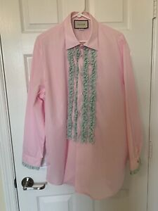 Details about Mens Pink Gucci Dress Shirt With Ruffle Front And Sleeves