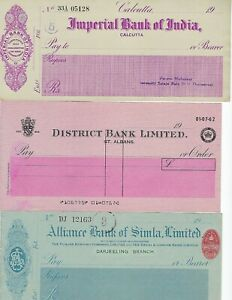 INDIA-BRITISH-INDIA-BANK-CHECKS-5-DIFFERENT-SOME-MAHARAJA-ISSUES-SEE-SCANS
