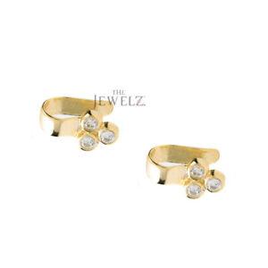 14K-Gold-0-18-Ct-Genuine-Diamond-Minimalist-Ear-Cuff-Earrings-Fine-Jewelry