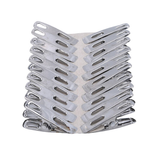 Pack of 20 Stainless Steel Spring Loaded Metal Laundry Clothes Clip Pegs G
