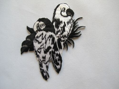 #3503 White,Black Parrot Bird Embroidery Iron On Applique Patch