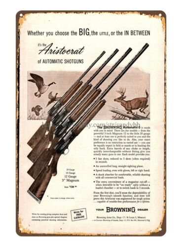 home decor 1961 BROWNING Gauge Magnum Shotgun AD firearm metal tin sign