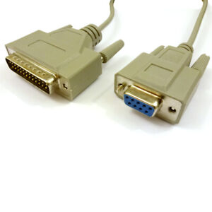 Modem-Cable-RS232-Serial-DB9-Female-to-DB25-Male-Lead-2m-Length-for-MODEM-Grey