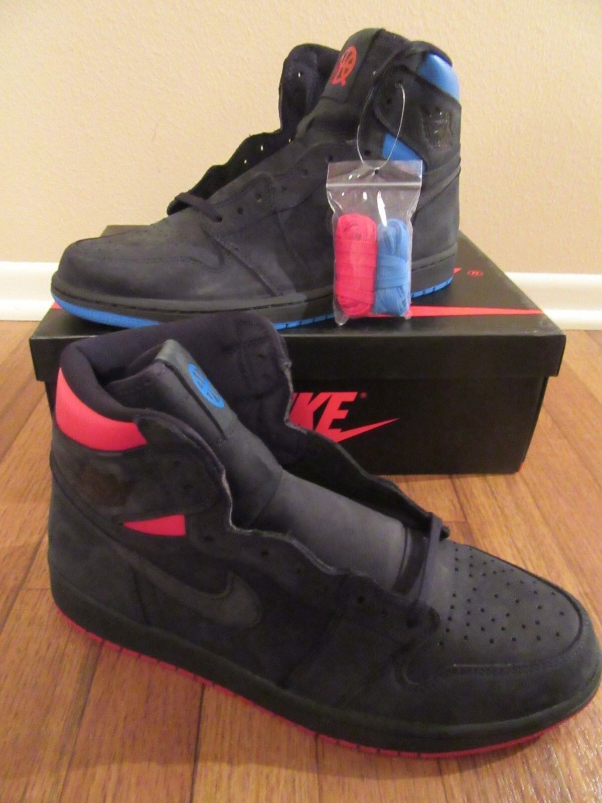info for f7b69 0ea0a Nike Air Jordan 1 Retro High OG Q54 Size 11 Black Italy Blue AH1040 054  Quai 54