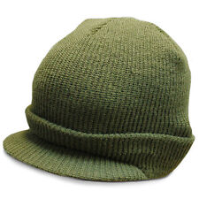 US-Army Jeep Cap Wool Military Peak Beanie Watch Hat Olive Green One Size