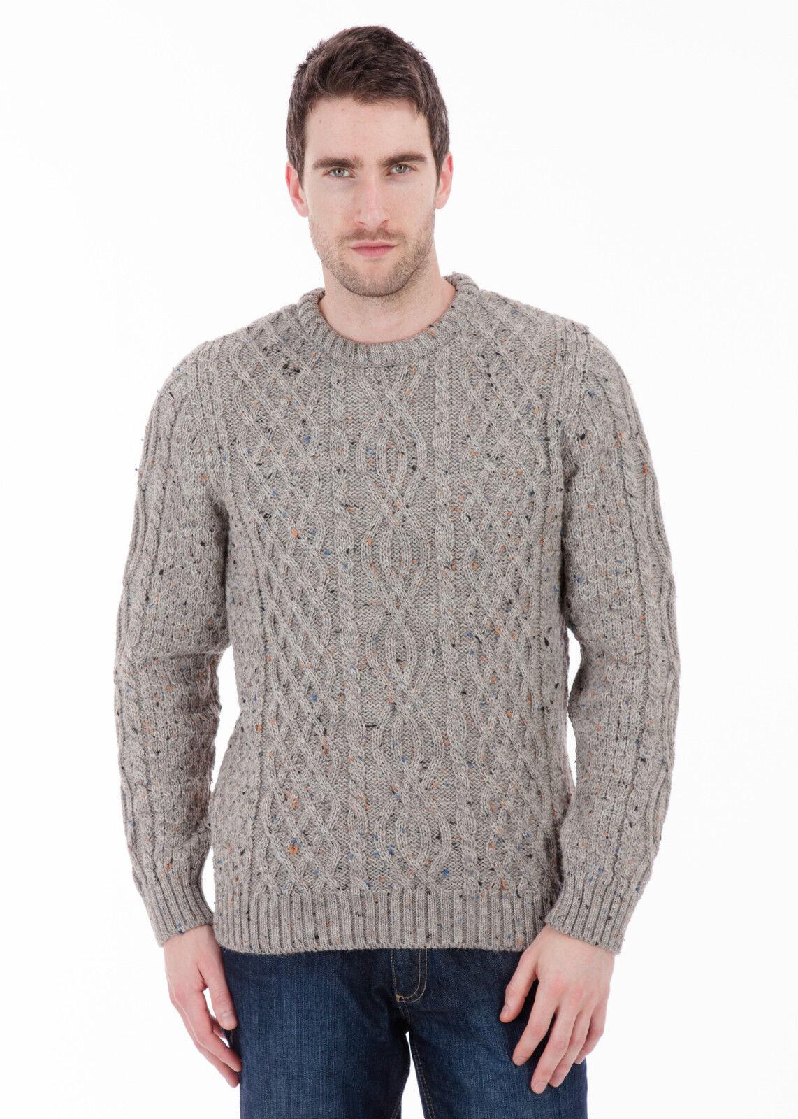 Jarvis - 100% British Wool -   Herren Nepp Aran Jumper Sweater - Made in the UK