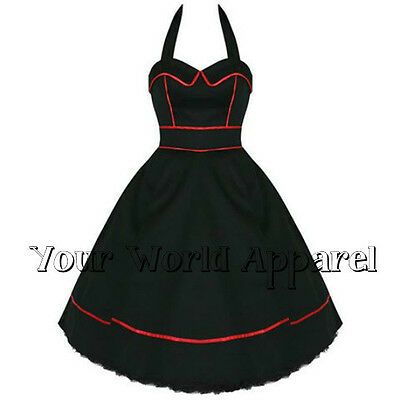 H&R LONDON 6851 BLACK RED PIPING PINUP SWING 1950's DRESS VINTAGE ROCKABILLY
