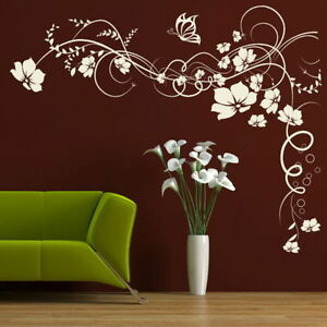 Image Is Loading CORNER FLOWER WALL STICKER Interior Home Floral Transfers