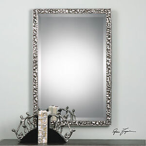"Beveled Wall Mirror new large 39"" hammered metal finish beveled wall mirror metallic"