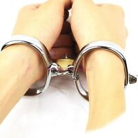 Lockable Stainless Steel Handcuffs Metal Shackles Slave Hand Ankle Restraint Toy