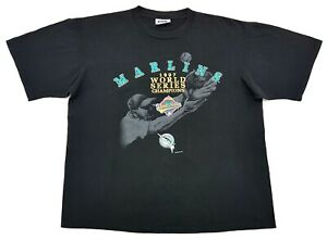Vintage-Florida-Marlins-97-World-Series-Champions-Tee-Black-Size-XL-Mens-T-Shirt